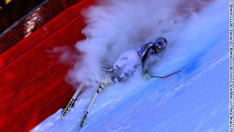 Lindsey Vonn crashes out on a training run ahead of the World Cup women's downhill in Cortina d'Ampezzo, Italy.