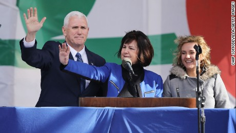 Vice President Mike Pence, his wife, Karen, and their daughter Charlotte arrive for a rally on the National Mall before the March for Life on January 27, 2017.