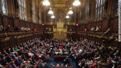A general view shows the House of Lords chamber in session at the Houses of Parliament in London on September 5, 2016 during which Norman Fowler, the new Lord Speaker, speaks.  The House of Lords is the upper house of the UK parliament.  / AFP / POOL / Kirsty Wigglesworth        (Photo credit should read KIRSTY WIGGLESWORTH/AFP/Getty Images)