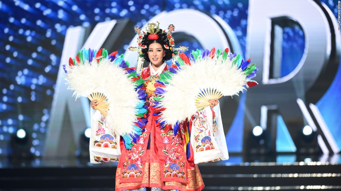 Miss Universe contestant Jenny Kim of South Korea presents during the national costume and preliminary competition.