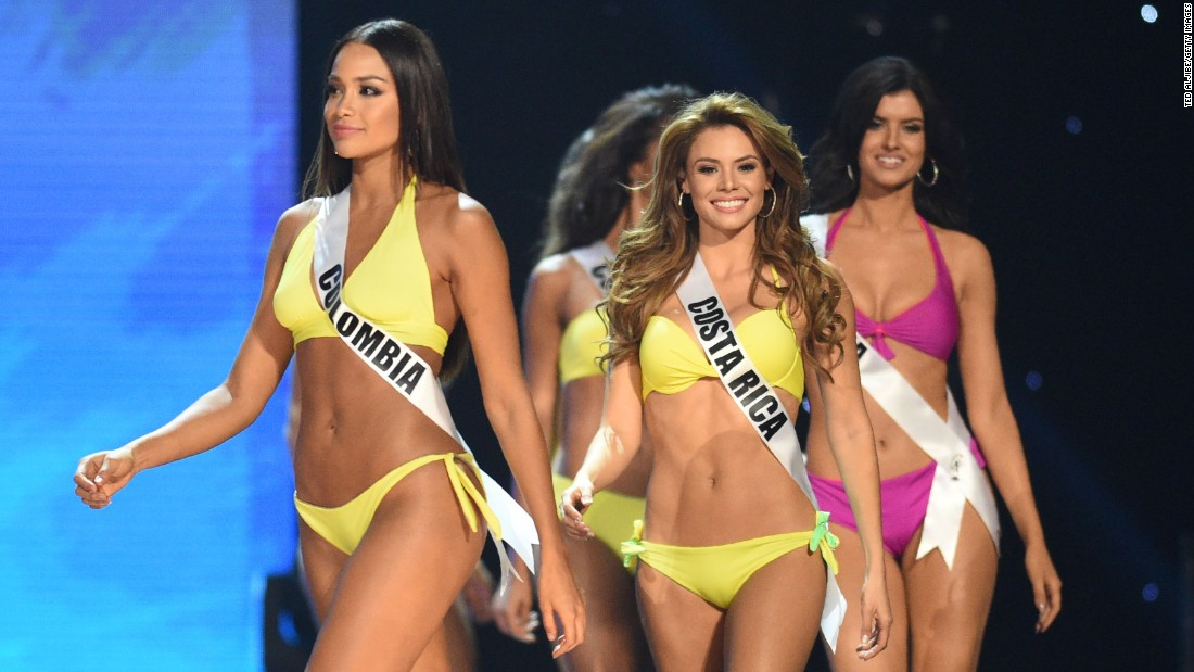 Miss Universe contestants in their swimsuits during the preliminary competition on January 26.