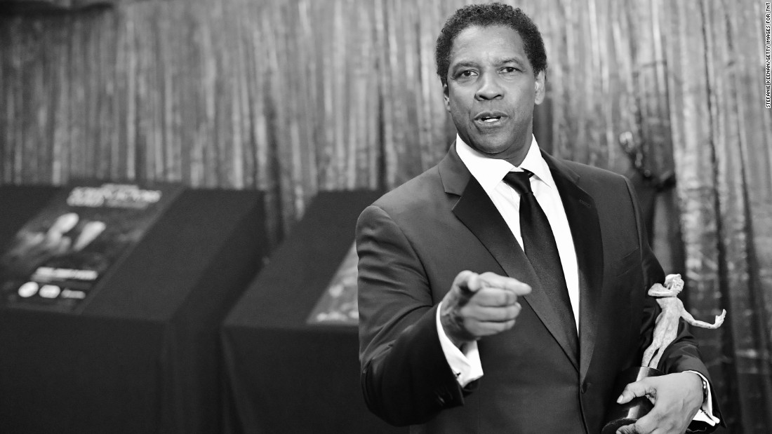 "Here's looking at Denzel Washington as he celebrates his best actor award for ""Fences."""