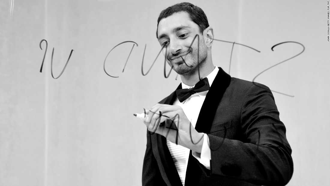 """The Night Of"" star Riz Ahmed takes a moment backstage to do a little writing."