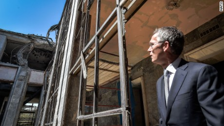 NATO Secretary General Jens Stoltenberg, in September 2016, visits the Turkish Grand National Assembly, damaged during the June 2016 coup attempt.