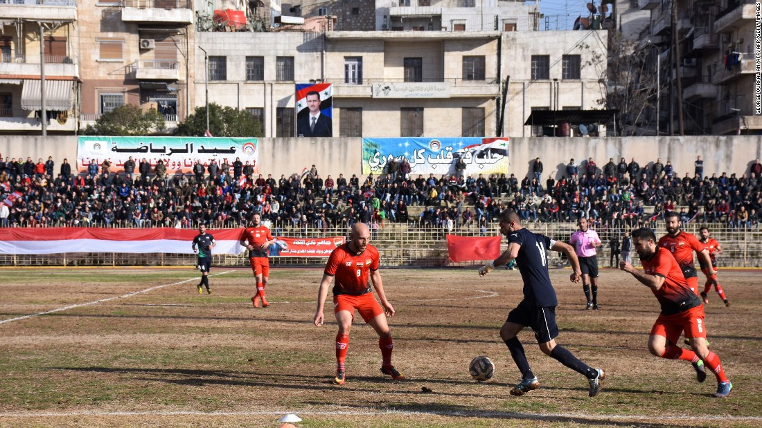 Al-Ittihad beat local rival Al-Hurriya 2-1 in its first match on home turf since rebels took eastern Aleppo in 2012.