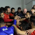 aleppo football al ittihad pre-match huddle