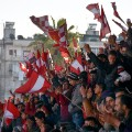 aleppo football al ittihad supporters wave flags