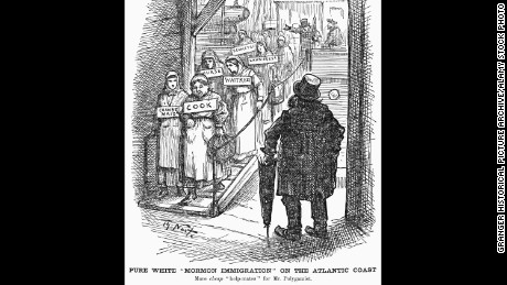 FFCTT6 NAST: MORMON CARTOON, 1882. /n'Pure White Mormon Immigration on the Atlantic Coast.' American cartoon, 1882, by Thomas Nast, characterizing the polygamist practices of the Mormon church as a means of exploiting immigrant women from Europe.