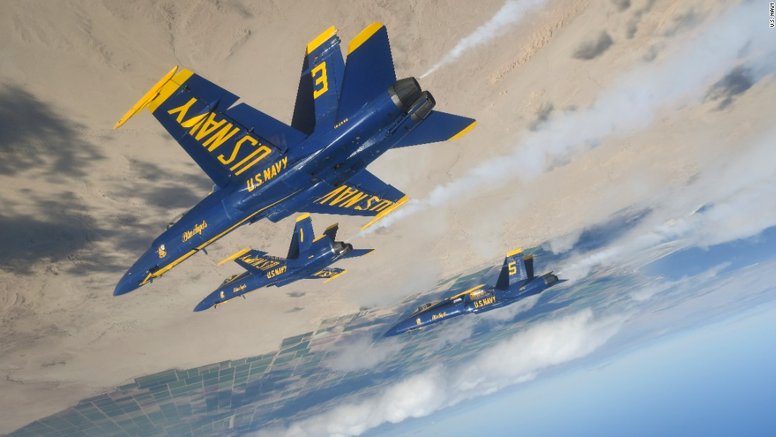 The Blue Angels, the US Navy's flight demonstration squadron, train over El Centro, California, on Wednesday, January 11.