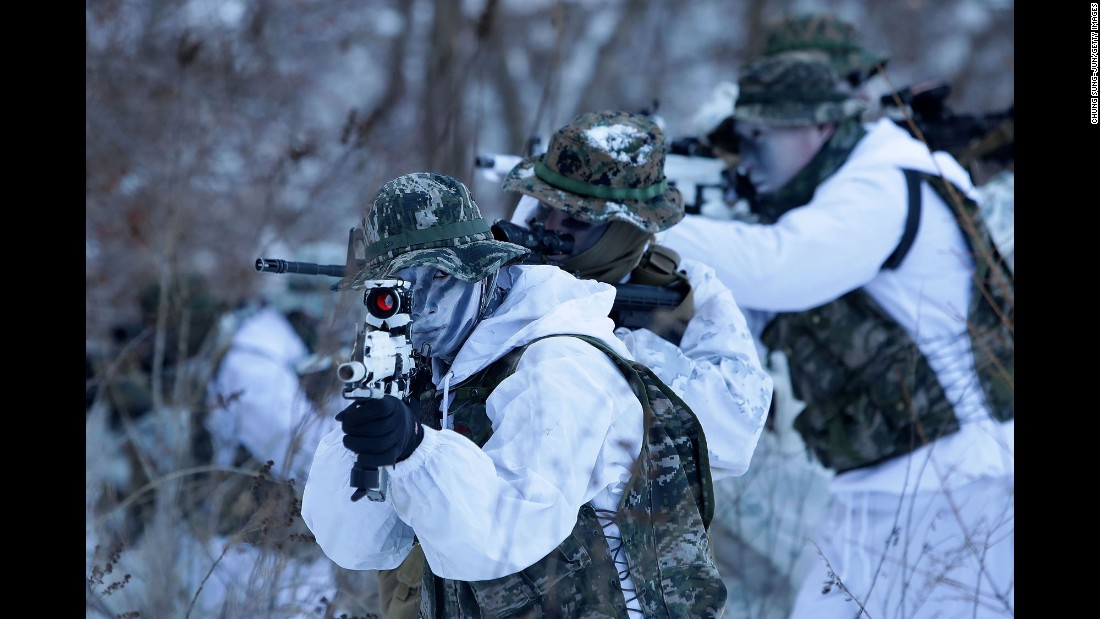 US Marines take part in a training exercise with South Korean troops in Pyeongchang, South Korea, on Tuesday, January 24.