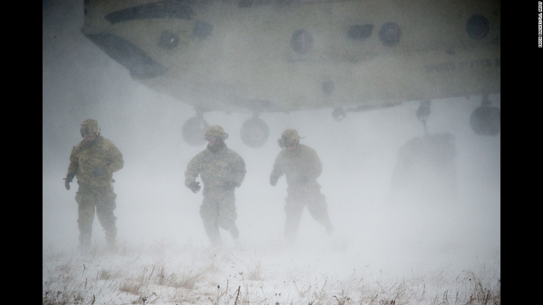 US soldiers train in Baumholder, Germany, on Thursday, January 26.