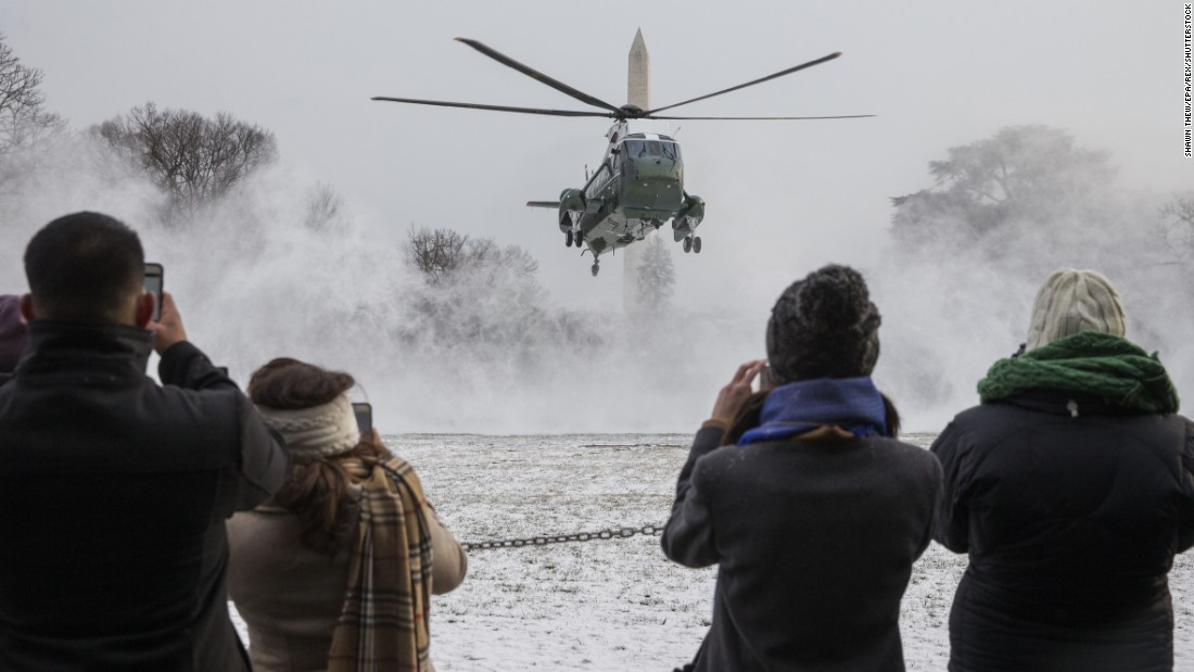 Marine One, carrying President Obama, lands on the South Lawn of the White House on Saturday, January 7.