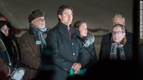 Canadian Prime Minister Justin Trudeau addresses a rally Monday night near the Quebec City mosque.