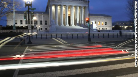 WASHINGTON, DC - JANUARY 31: A car passes the U.S. Supreme Court on January 31, 2017 in Washington, DC. Later today President Donald Trump is expected to announce his Supreme Court nominee to replace Associate Justice Antonin Scalia who passed away last year. (Photo by Mark Wilson/Getty Images)