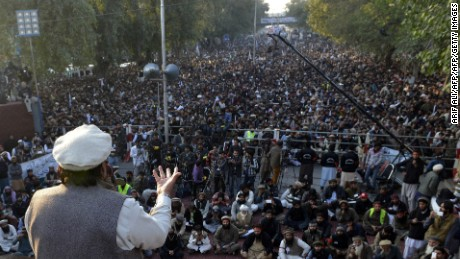 Hafiz Saeed addresses demonstrators during a protest against the printing of satirical sketches of the Prophet Muhammad by French magazine Charlie Hebdo, in Lahore on January 18, 2015.