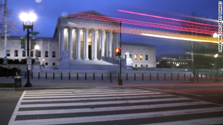 A bus passes the U.S. Supreme Court on January 31, 2017 in Washington, DC.