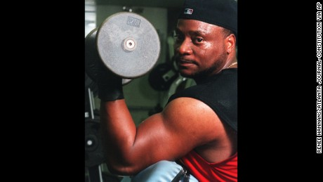 Bishop Eddie Long working out in 1999, just as his church was about to flex its muscles on the national stage.