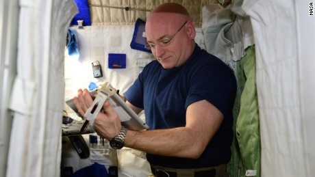 NASA astronaut Scott Kelly performs the Fine Motor Skills Test.