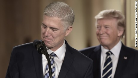 Neil Gorsuch speech at Trump hotel draws protests