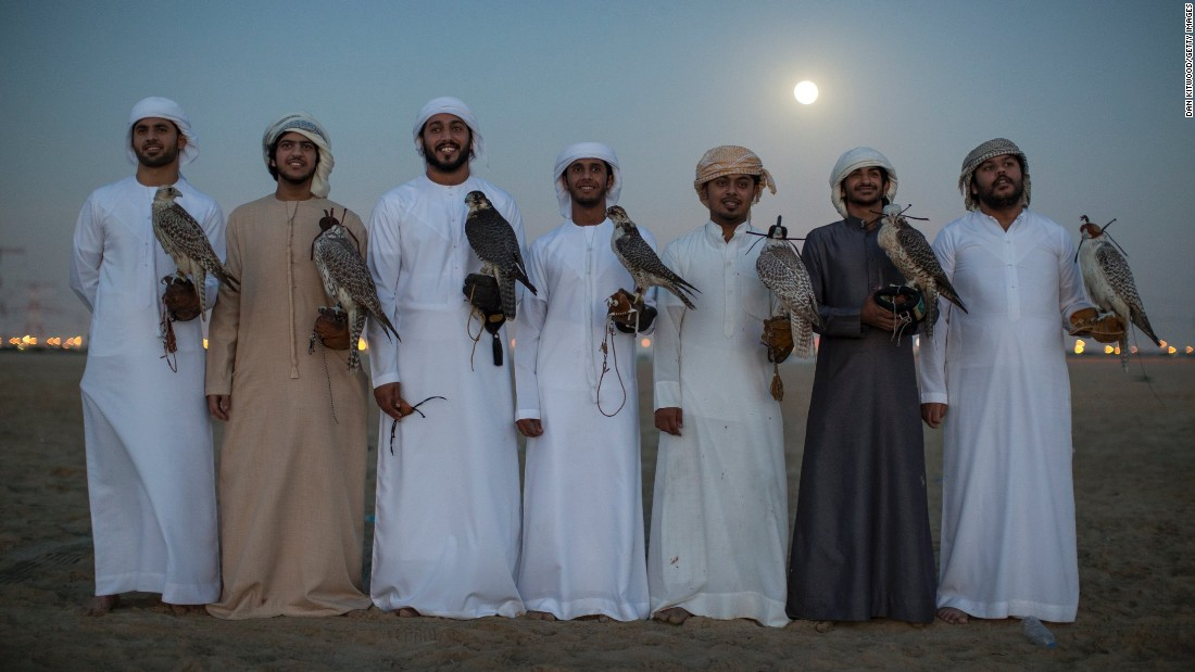Emirati men pose with their Falcons after an evening training session. Groups of friends regularly come together in the evenings to meet and train their birds where the practice becomes more about camaraderie and sharing knowledge than subsistence.
