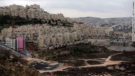 A picture taken on January 26, 2017 shows new apartments under construction in the Israeli settlement of Har Homa (foreground-L) situated in East Jerusalem, in front of the West Bank city of Bethlehem (background-R) Israeli officials gave final approval Thursday to 153 east Jerusalem settler homes, the deputy mayor said, adding to a sharp increase in such projects since US President Donald Trump took office. / AFP / AHMAD GHARABLI        (Photo credit should read AHMAD GHARABLI/AFP/Getty Images)