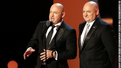 MOUNTAIN VIEW, CA - DECEMBER 04: Former NASA astronauts Mark Kelly and Scott Kelly present onstage during the 2017 Breakthrough Prize at NASA Ames Research Center on December 4, 2016 in Mountain View, California.  (Photo by Kimberly White/Getty Images for Breakthrough Prize)