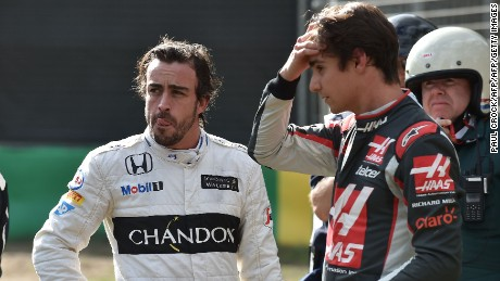 Fernando Alonso (left) and Gutierrez are left stunned by a high-speed crash in Australia.