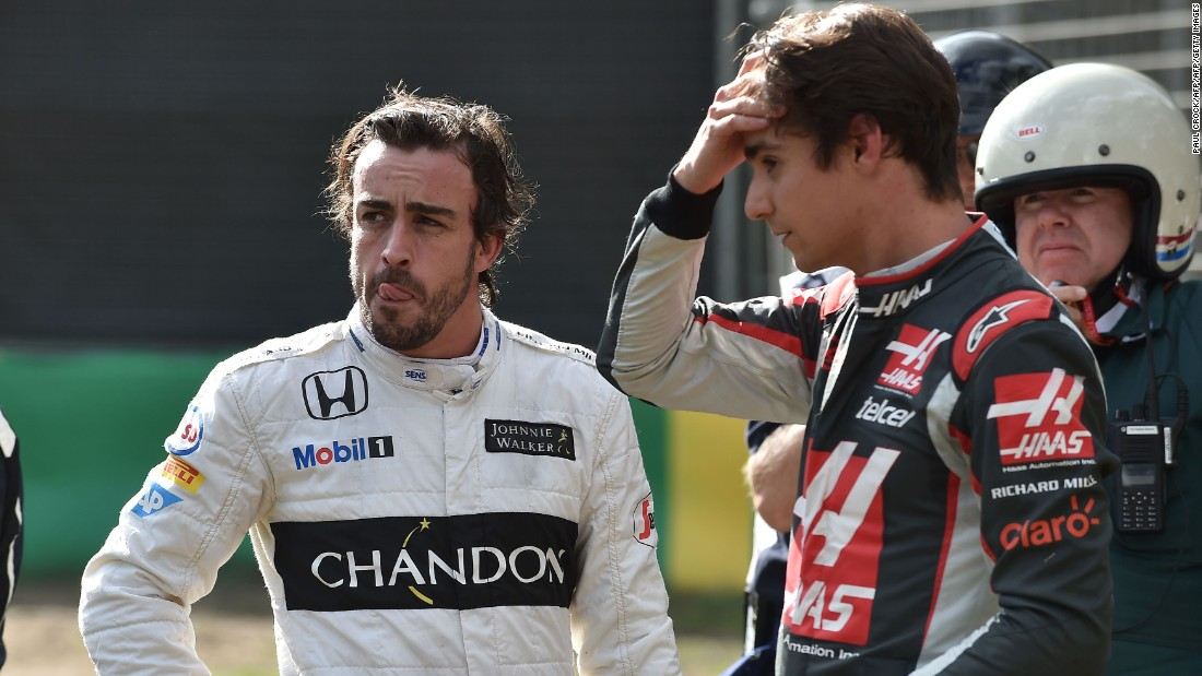 Both Alonso (left) and Gutierrez (right) emerged unscathed, but stunned by the high-speed crash at Melbourne's Albert Park circuit.