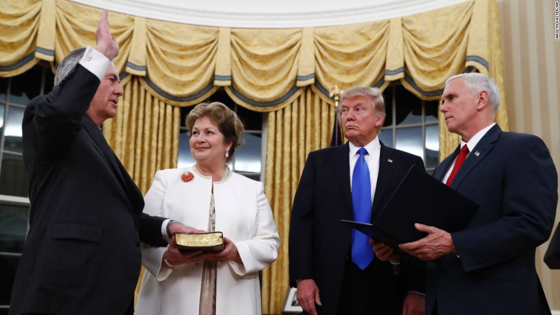 "Trump watches as Pence swears in Rex Tillerson as secretary of state on Wednesday, February 1. Tillerson's wife, Renda St. Clair, holds the Bible. Tillerson, a former CEO of ExxonMobil, was <a href=""http://www.cnn.com/2017/02/01/politics/tillerson-confirmation-vote-senate/"" target=""_blank"">confirmed in the Senate </a>by a vote of 56 to 43."