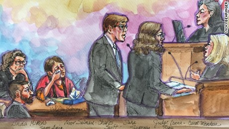 An artist rendering of the scene in a federal court room in Oakland, California, where lawyers wanted a judge to release Noor Salman, widow of Omar Mateen, on bail.