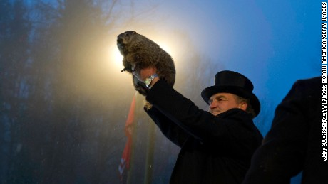 PUNXSUTAWNEY, PA - FEBRUARY 2: Groundhog handler John Griffiths holds Punxsutawney Phil after he saw his shadow predicting six more weeks of winter during 128th annual Groundhog Day festivities on February 2, 2014 in Punxsutawney, Pennsylvania. Groundhog Day is a popular tradition in the United States and Canada. A smaller than usual crowd this year of less than 25,000 people spent a night of revelry awaiting the sunrise and the groundhog's exit from his winter den. If Punxsutawney Phil sees his shadow he regards it as an omen of six more weeks of bad weather and returns to his den. Early spring arrives if he does not see his shadow, causing Phil to remain above ground. (Photo by Jeff Swensen/Getty Images)
