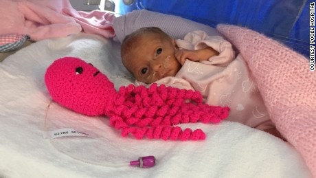 Crocheted octopi comfort preemies in hospital NICU