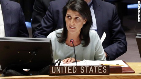 Ambassador to the UN Nikki Haley addresses a Security Council meeting of the United Nations.