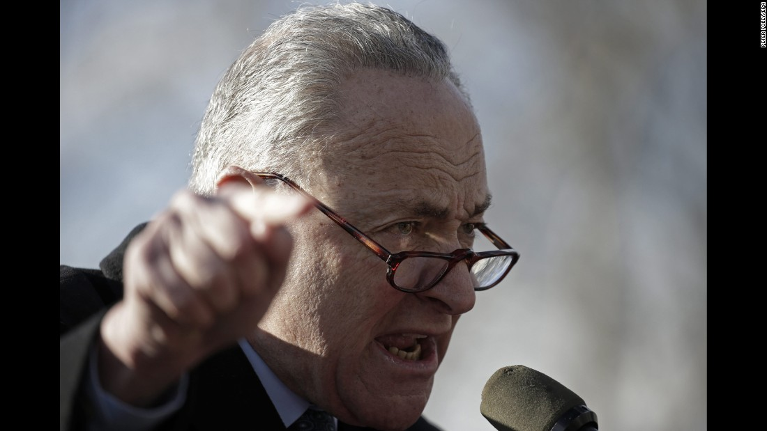 "Senate Minority Leader Chuck Schumer speaks in New York during a protest against President Trump's travel ban on Sunday, January 29. Schumer <a href=""http://www.cnn.com/2017/01/30/politics/donald-trump-chuck-schumer-travel-ban-immigration/"" target=""_blank"">was brought to tears</a> at a news conference about the subject, calling the ban ""un-American."""