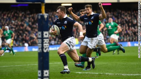 EDINBURGH, SCOTLAND - FEBRUARY 04:  Stuart Hogg runs in his second try during the RBS Six Nations match between Scotland and Ireland at Murrayfield Stadium on February 4, 2017 in Edinburgh, Scotland.  (Photo by Stu Forster/Getty Images)