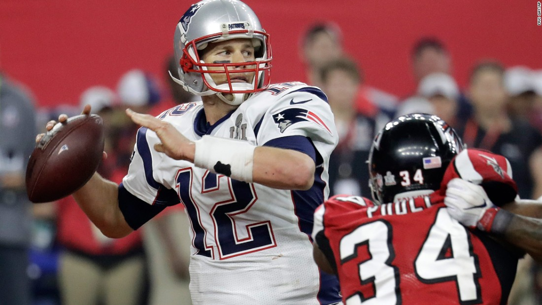 New England Patriots quarterback Tom Brady threw for 466 yards in Super Bowl LI, leading his team to a 34-28 overtime victory over Atlanta in 2017. Brady obliterated the previous record of 414 yards, which was set by St. Louis' Kurt Warner in 2000.