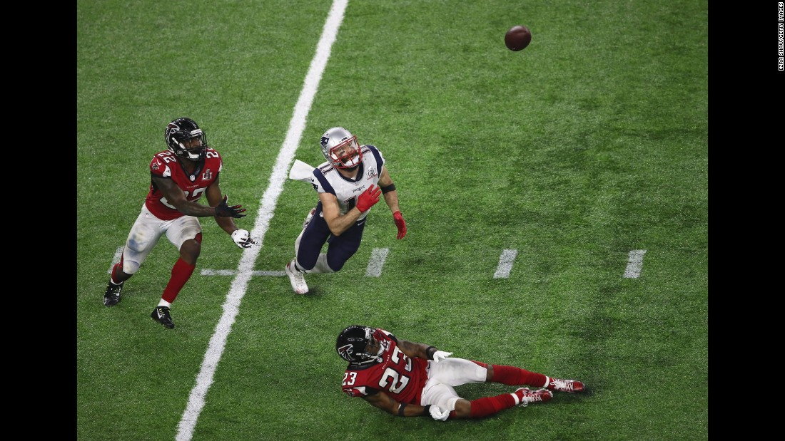"New England wide receiver Julian Edelman, center, made a spectacular catch late in the fourth quarter of <a href=""http://www.cnn.com/2017/02/05/sport/gallery/super-bowl-li/index.html"" target=""_blank"">Super Bowl LI,</a> and it might become one of the game's most replayed highlights."
