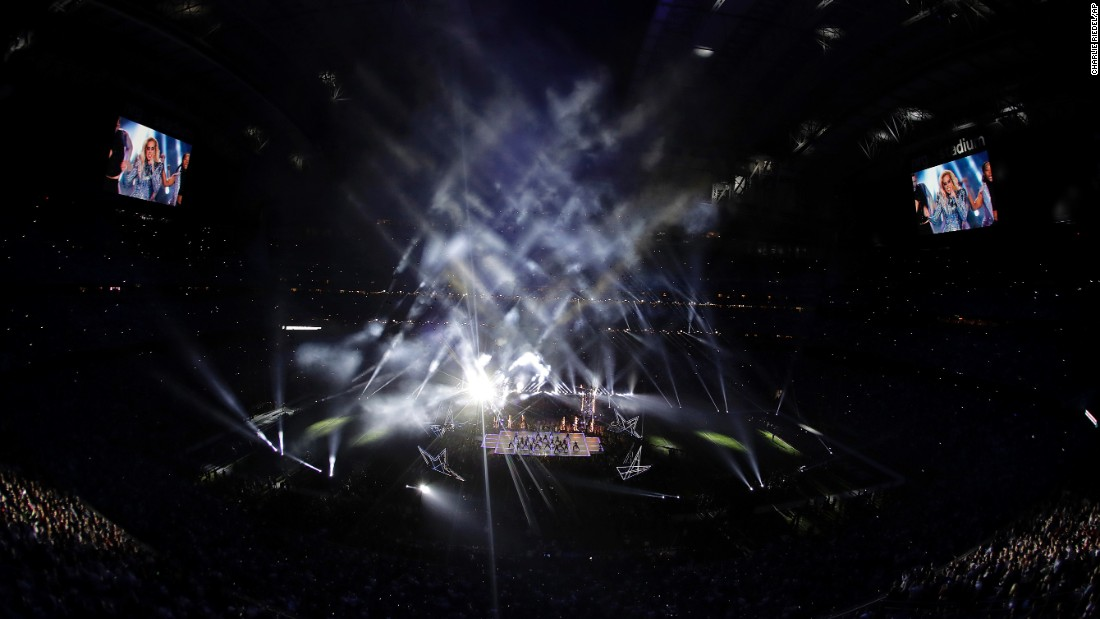 The stage is illuminated during the performance.