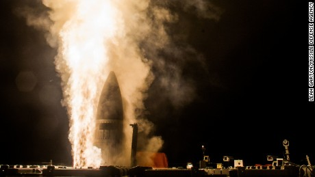 The USS John Paul Jones launches a ballistic missile interceptor.