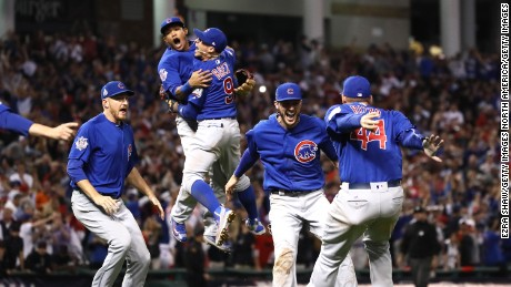 The Chicago Cubs celebrate after winning 8-7 in Game Seven of the 2016 World Series.