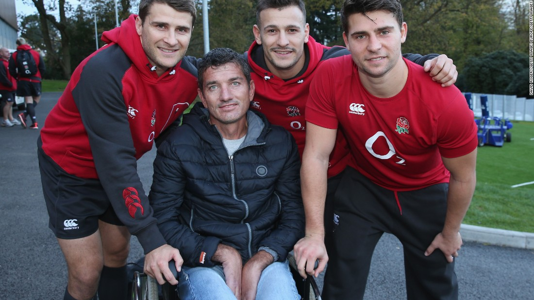 He poses for a photo in 2014 with three England scrumhalves: (from left to right) Richard Wigglesworth, Danny Care and Ben Youngs.