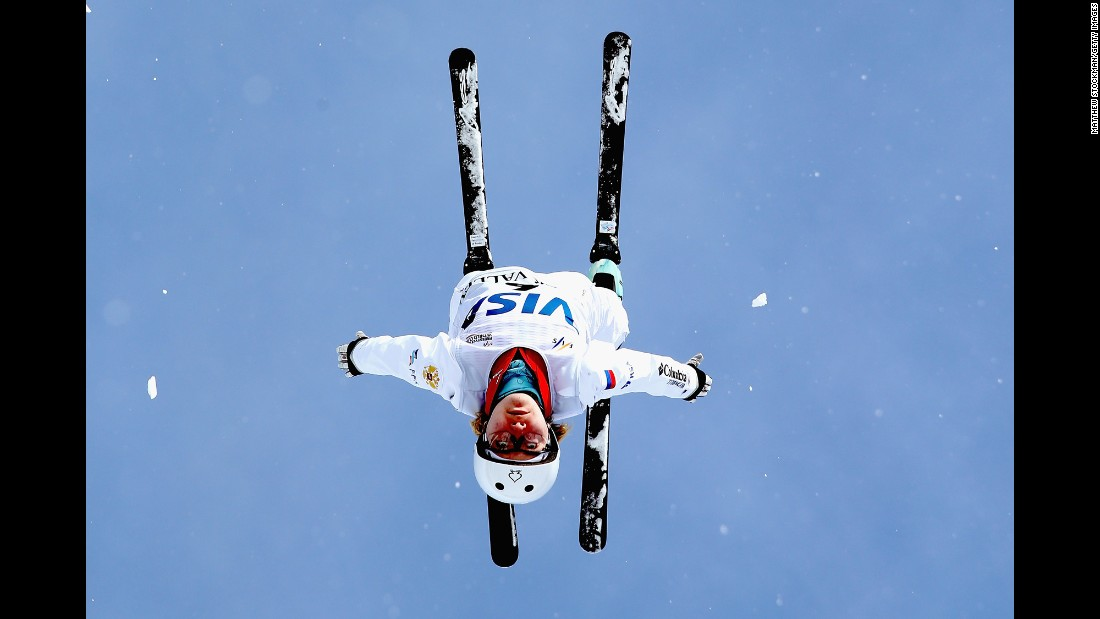 Freestyle skier Kristina Spiridonova trains for the World Cup aerials competition in Park City, Utah, on Wednesday, February 1.
