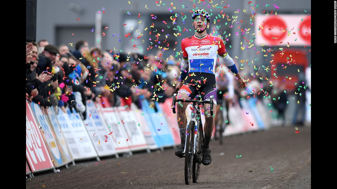 Dutch cyclist Mathieu van der Poel celebrates Sunday, February 5, after winning the seventh stage of the Superprestige cyclocross event in Hoogstraten, Belgium.