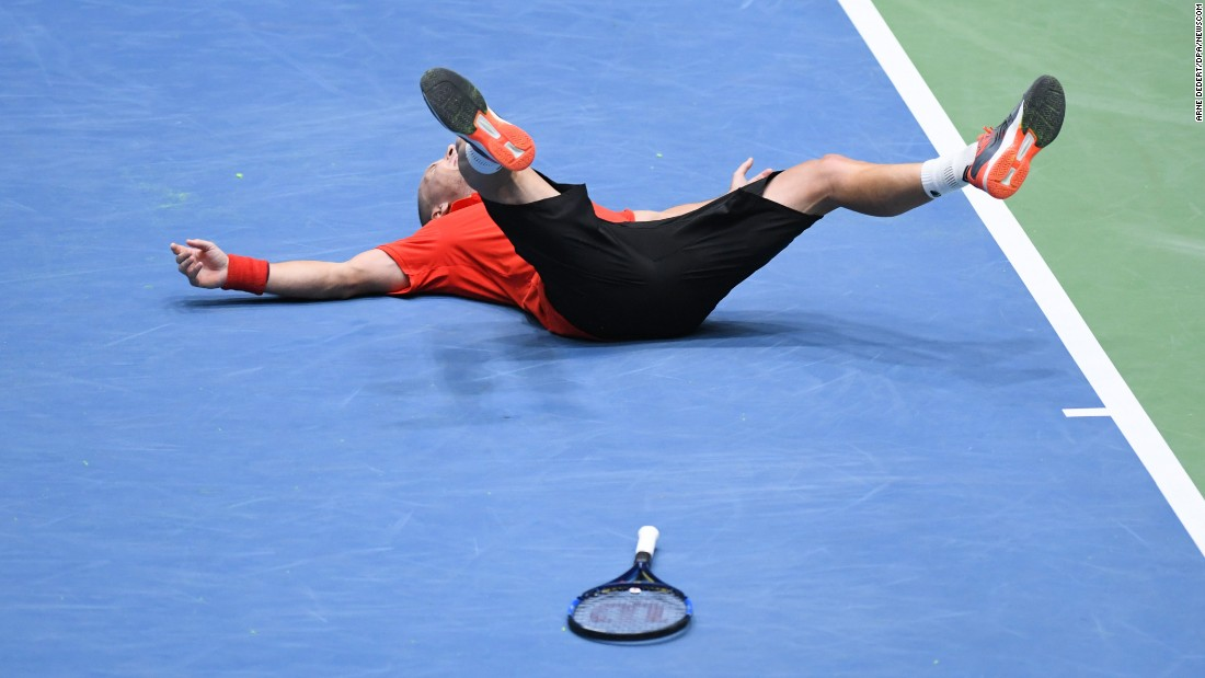 Belgium's Steve Darcis celebrates his Davis Cup victory over Germany's Alexander Zverev on Sunday, February 5. The win put Belgium into the quarterfinals.