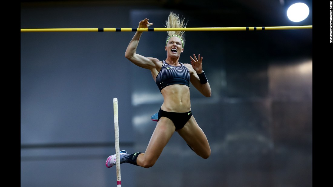 American pole vaulter Sandi Morris competes at an indoor event in Dusseldorf, Germany, on Wednesday, February 1.