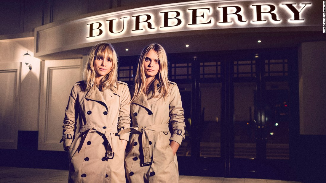 The early trench coat, patented as the Tielocken by Thomas Burberry in 1912, was designed for soldiers and made from a sturdy khaki-colored material called gabardine, which Burberry himself invented. British troops wore the coat in the World War I trenches, where the weather-proof material kept off the rain and mud. The name trench coat has followed the garment since, but its wartime use has been swapped for fashion shows, with Humphrey Bogart and Kate Moss among the famous modelers of the coat, now found in a range of styles and colors.
