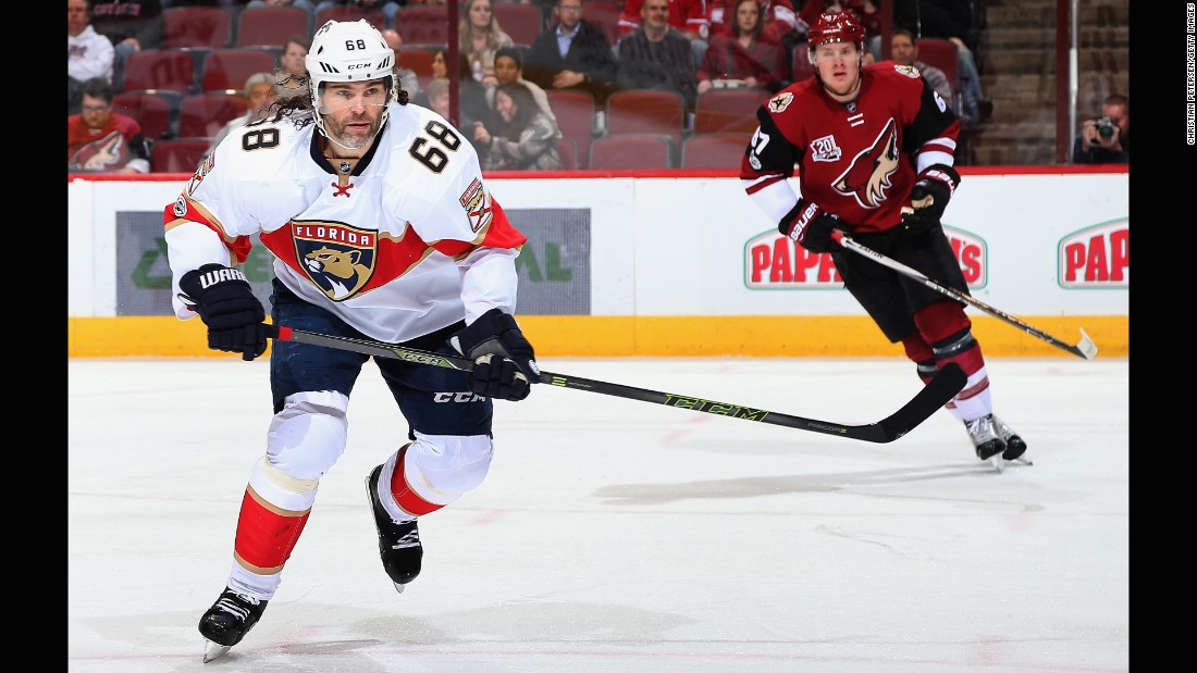 Jaromír Jágr of the Florida Panthers is going strong at age 44 and recently took second place on the all-time NHL points list.
