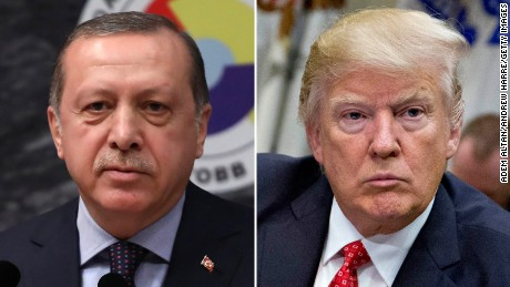Turkish President Erdogan (L) spoke to US President Trump on Tuesday for the first time since Trump's inauguration.