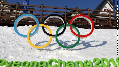 The Olympic rings in Hoenggye town, near the venue for the opening and closing ceremony at the 2018 Winter Olympic Games
