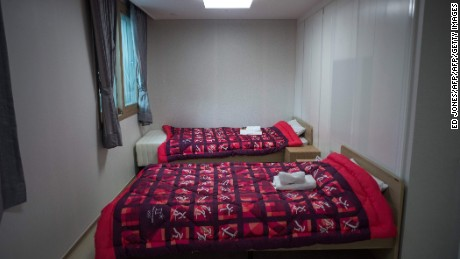The interior view of an apartment at the Olympic Village.